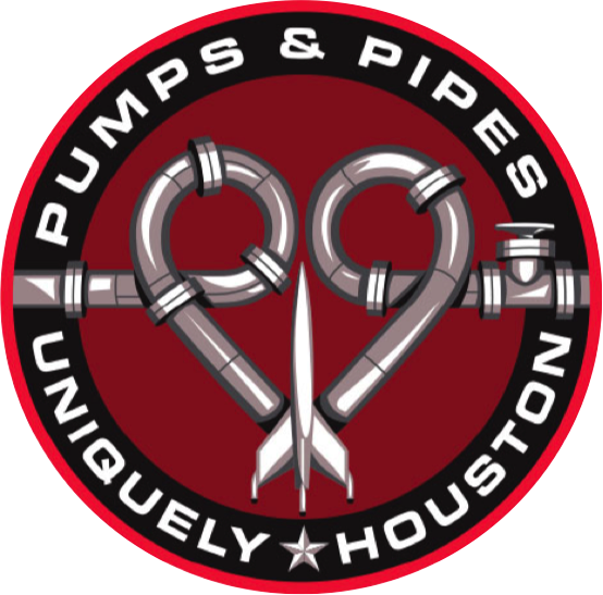 "circular mission patch with a heart made from pipes and a spacecraft. Outer text reads ""Pumps & Pipes, Uniquely Houston"""